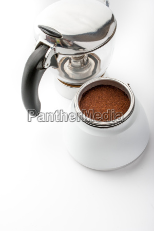 open coffee maker with coffee on