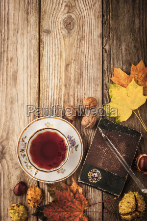 autumnal still life with gift