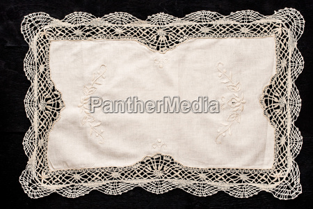 old vintage napkin with lace border