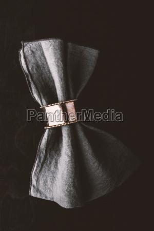 grey napkin in the vintage metal