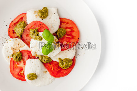 caprese salad on the white background