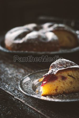 cake with powdered sugar with a