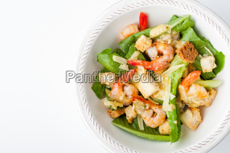 caesar salad with shrimps on the