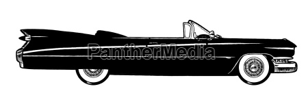 black classic retro car isolated on