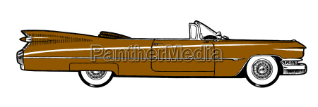 brown classic retro car isolated on
