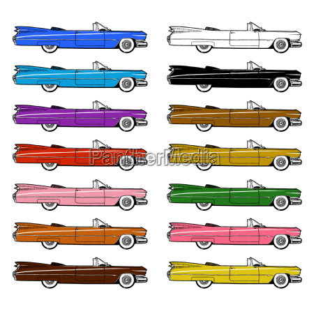 classic retro car set isolated on
