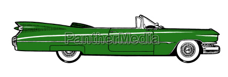 green classic retro car isolated on