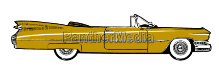 mustard classic retro car isolated on