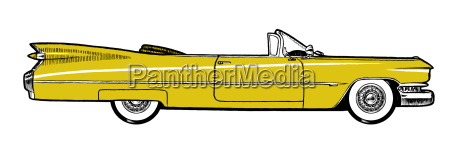 yellow classic retro car isolated on