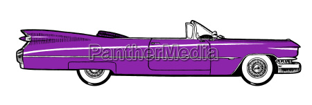purple classic retro car isolated on
