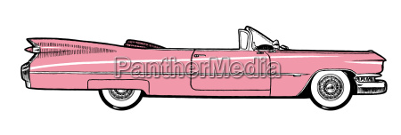 pink classic retro car isolated on