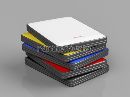 stack with portable hard drives