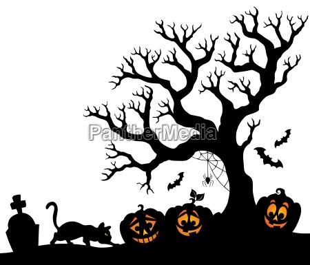 arbol de halloween silueta tema 1