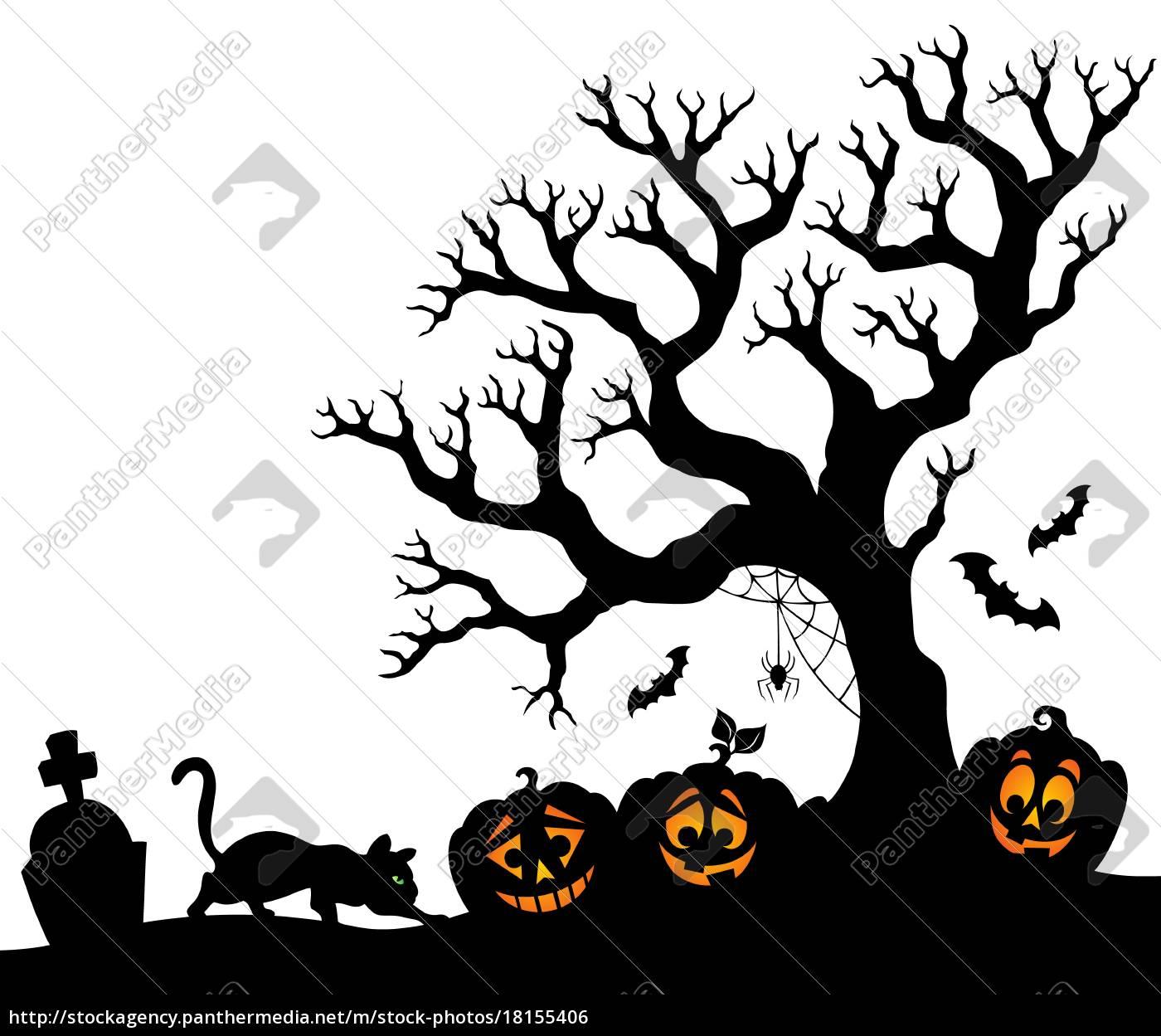 Halloween Thema.Stockfoto 18155406 Halloween Baum Silhouette Thema 1