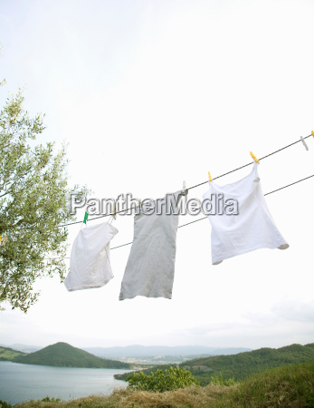white washing hanging on line