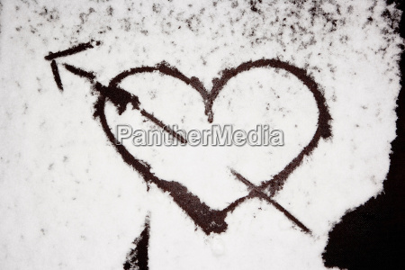 heart painted in snow
