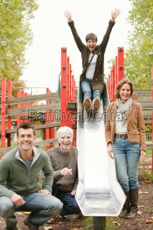 family having fun at the park