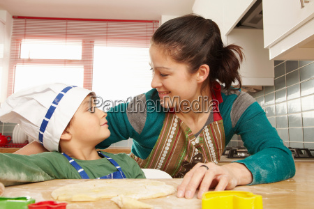 mother and son having fun in