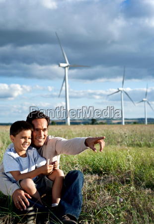 father and son on a wind