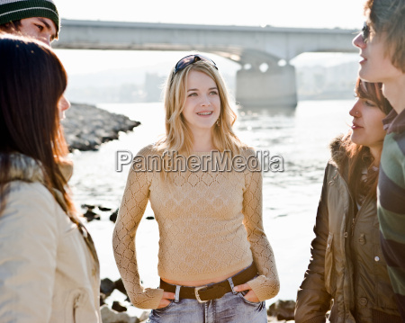 young girl with group of friends