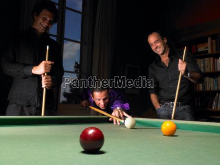 men playing snooker