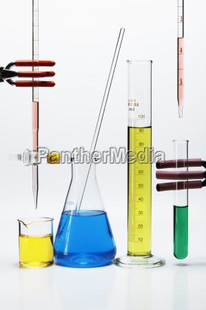 chemical lab glassware burette over beaker
