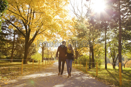 junges paar im herbst park spazieren