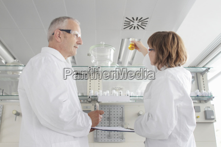 scientists working in laboratory looking at
