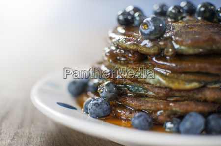 still life of blueberry pancakes with