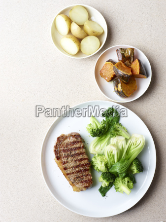 still life of grilled steak with