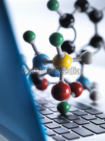 close up of molecular model sitting