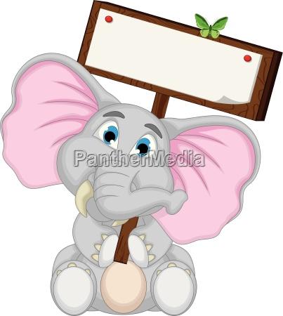 niedliche elefanten cartoon mit leeren zeichen