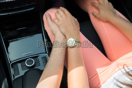 loving couple in a car