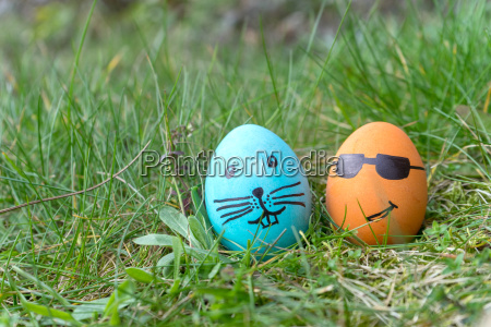 blue and orange easter egg with