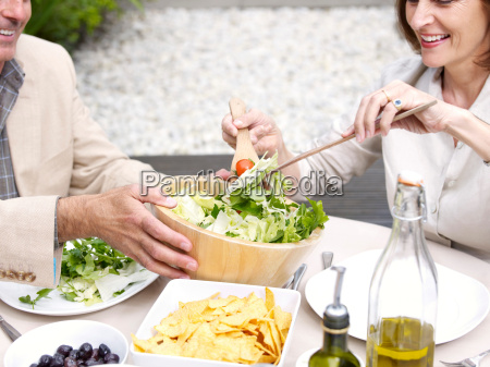 couple having lunch in garden