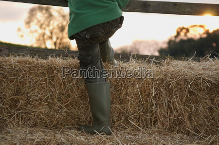 young boy climbing on hay bales