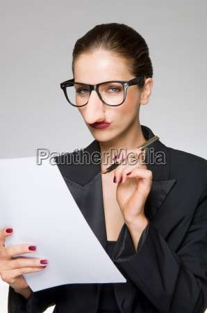 female as business woman with fake
