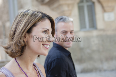 couple walking along the street