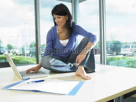 woman working on her desk