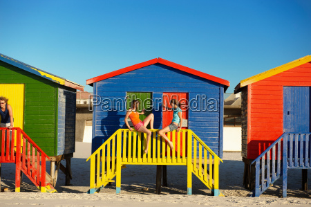 girls hanging out at beach hut
