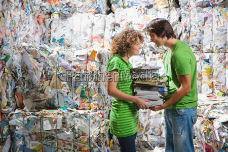 man and woman at a recycling