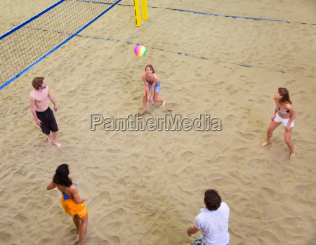 aerial view of friends playing indoor