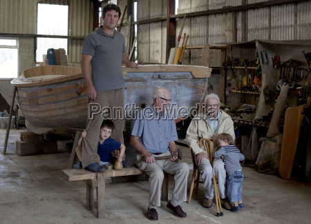 group portrait of four generations of