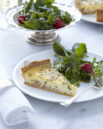 plate with classic quiche slice and