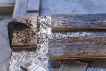 close up of wood planks in