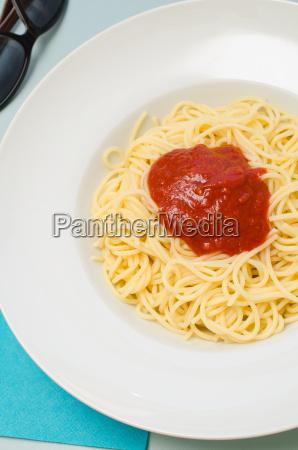 delicious spaghetti with tomato sauce