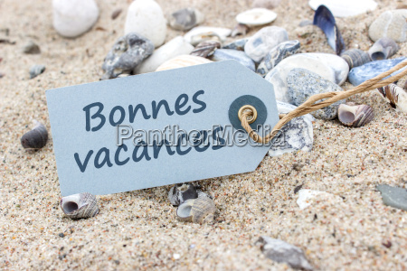card with french words nice vacations
