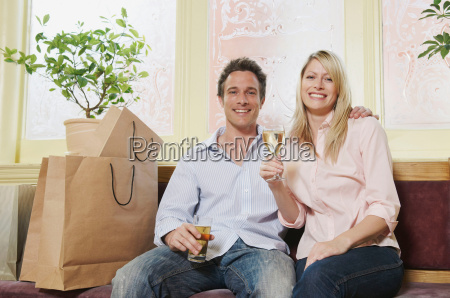 portrait of couple enjoying a drink