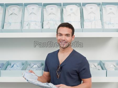man shopping looking at viewer