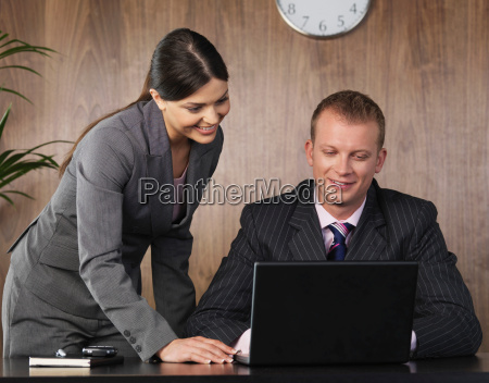business man and woman working in